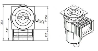 Σκίμμερ μπετού AstralPool 17.5 lt (τετράγωνο καπάκι)