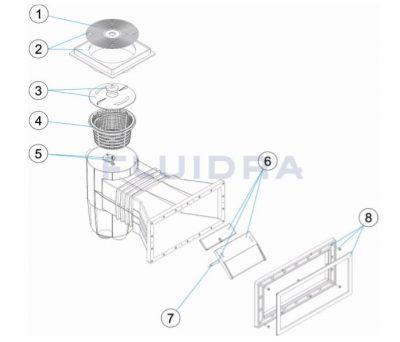 Ανταλλακτικά για σκίμερ μπετού 15 lt AstralPool (square& πλατύ στόμιο)