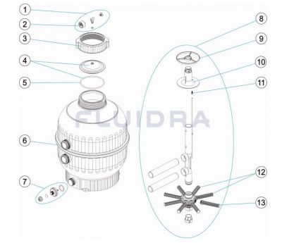 Ανταλλακτικά για Φίλτρο Astral Cantabric διαμέτρου Φ400 Side