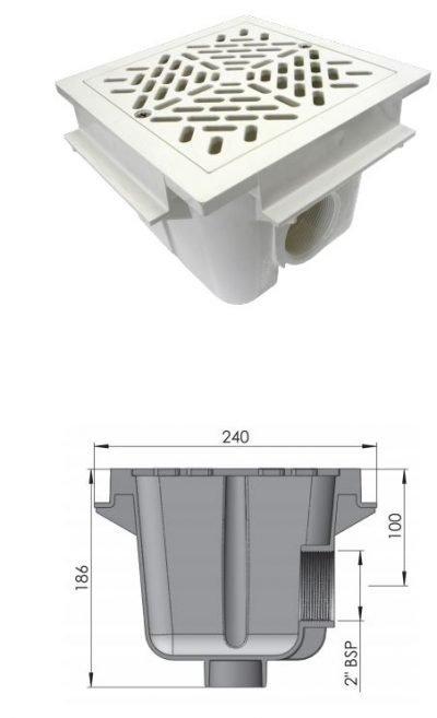 Φρεάτιο πυθμένα 2'' AstralPool, τετράγωνο