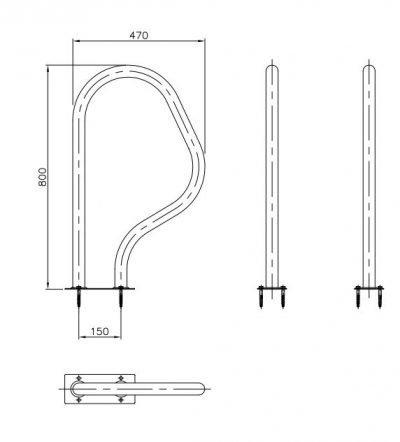 Χειρολαβές εξόδου 470 Χ 800 mm με ορθογώνια βάση, Inox – 316, AstralPool
